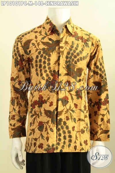 Kemeja Lengan Panjang Motif Print batik hem halus lengan panjang kemeja kerja pria muda