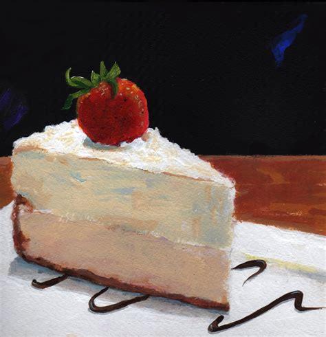 cake painting original painting vanilla bean cheese cake by