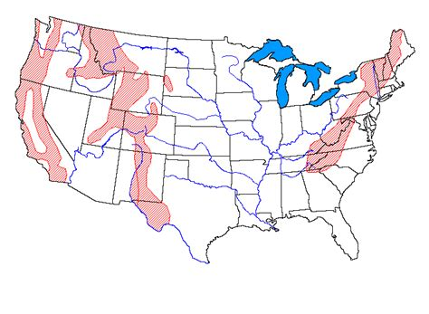 map of us mountain ranges tornado facts for 6th graders blank map of us mountain