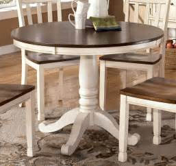 White Round Dining Room Tables Whitesburg Round Dining Table In Brown White By Dining