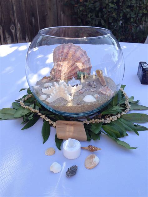 Beach wedding, Hawaiian theme centerpieces, seashells