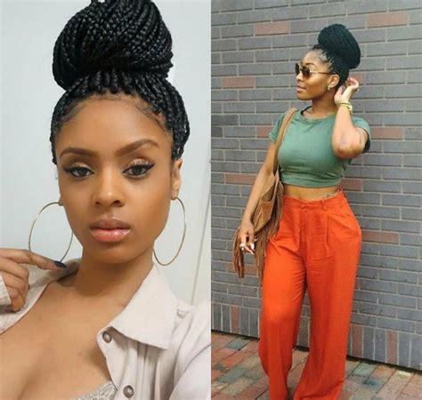 jmbo woman casual box braids bun hairstyles to look cool