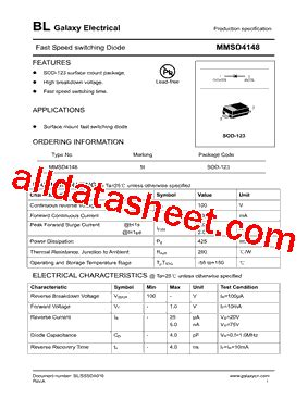 mmsd 4148 diode mmsd4148 데이터시트 pdf galaxy semi conductor holdings limited