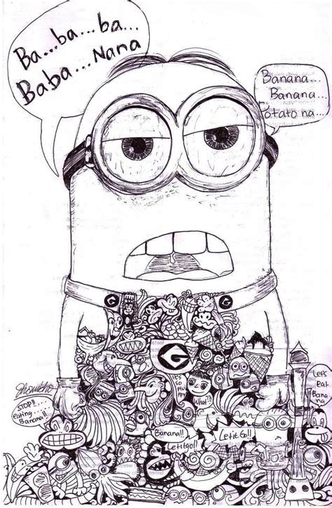 doodle happy birthday minion minion s doodle black and white doodle