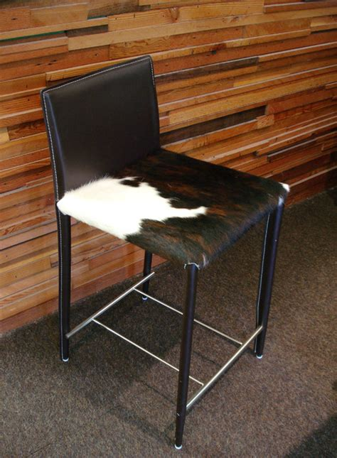 Cowhide Counter Stools - tri colored cowhide stools contemporary bar stools and