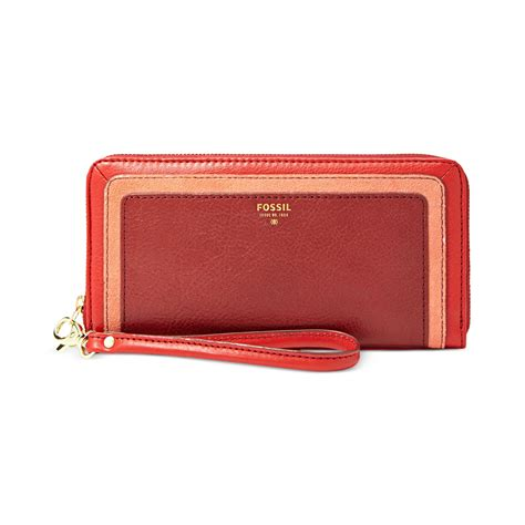 Dompet Fossil Sydney Zip Clutch Multi Wallet Authentic Original Lyst Fossil Sydney Leather Colorblock Zip Clutch In