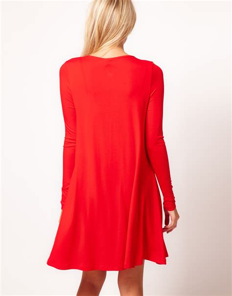 asos swing dress asos collection swing dress with long sleeves in red lyst