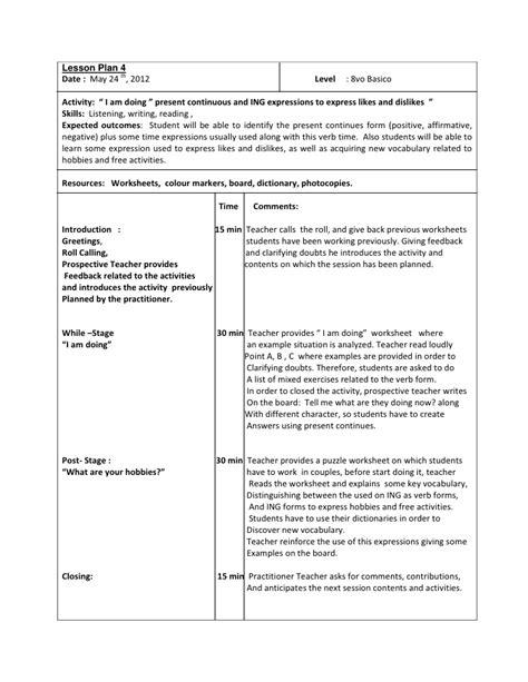 lesson plan 10 octavo past simple tense lesson plan 4 octavo basico present continuos