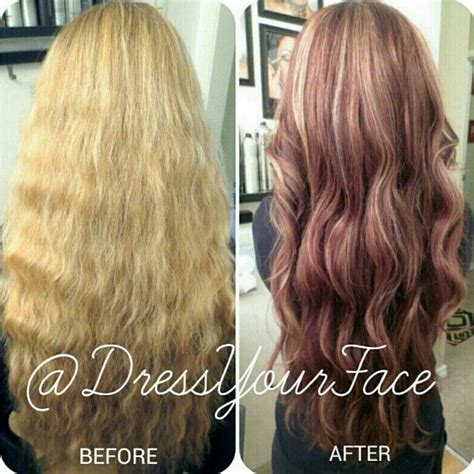 before and after layered haircuts before and after auburn with pale honey highlights and