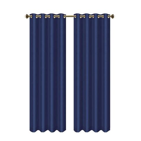 navy grommet curtains bella luna camilla faux silk 84 in l extra wide room