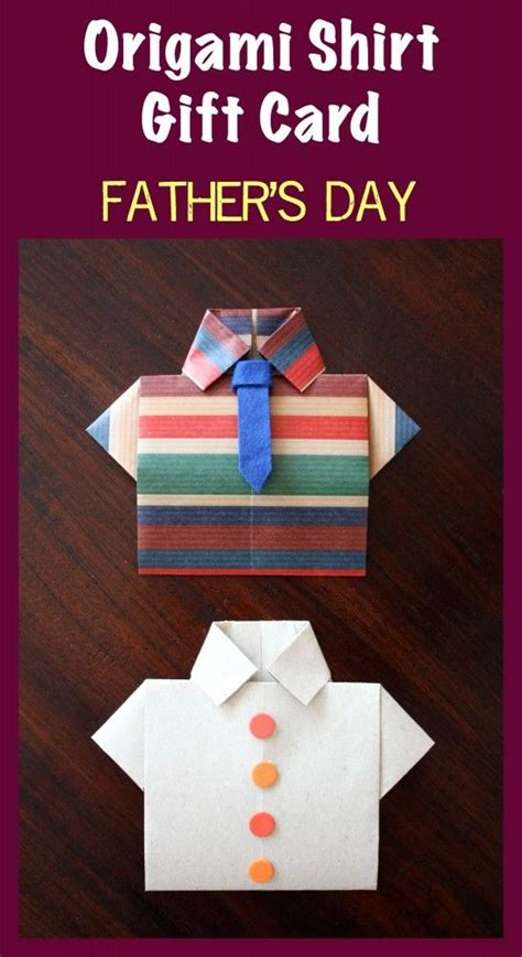 carding tutorial gift card super fun origami shirt gift card for dad easy step by