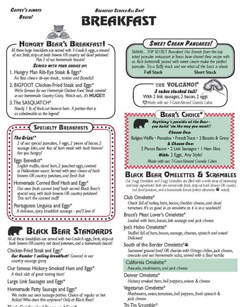 comfort diner menu black bear diner speak english salon