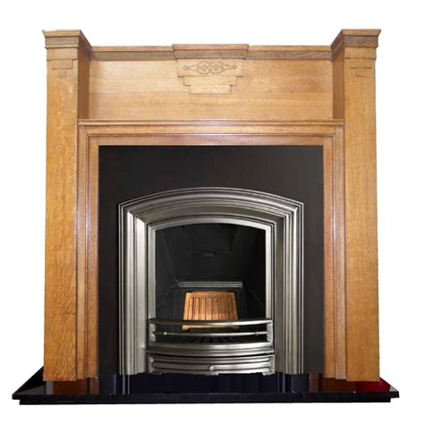 Deco Fireplaces by Antique Deco Oak Wood Mantel Fireplace Surround