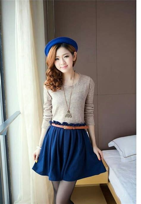 Midi Dress Skirt Dress Korea Fashion Wanita Blouse Kemeja Jepang korean fashion want this so bad fashion me gorgeous korean