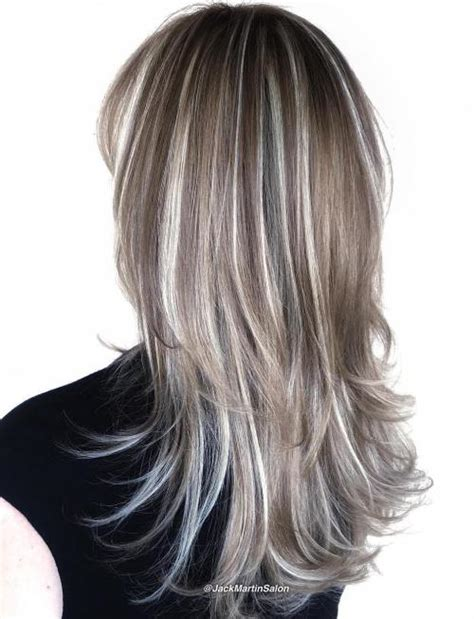 Silver White Hair With Brown Lowlights | 40 hair сolor ideas with white and platinum blonde hair
