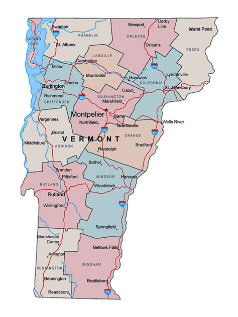 vermont united states map administrative map of vermont state with major cities