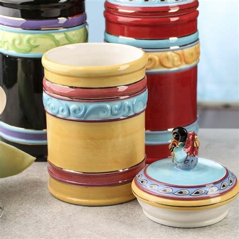 funky rooster ceramic canisters decorative containers