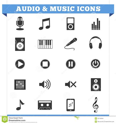 layout vector icons audio and music icons vector set stock images image
