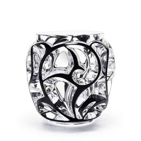 lalique vase tourbillons grand vase clear and black enamelled