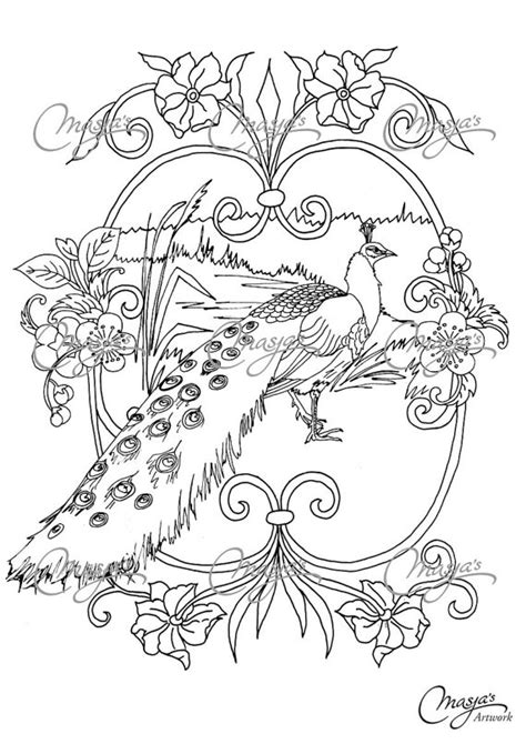 coloring pages for adults peacock items similar to masja s peacock coloring page on etsy
