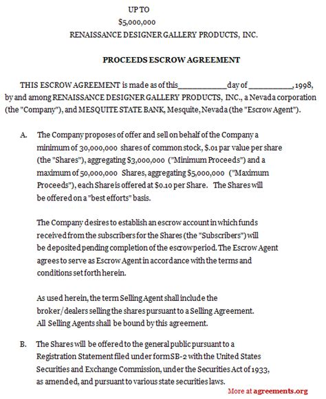 escrow agreement template best photos of sle escrow agreement sle escrow