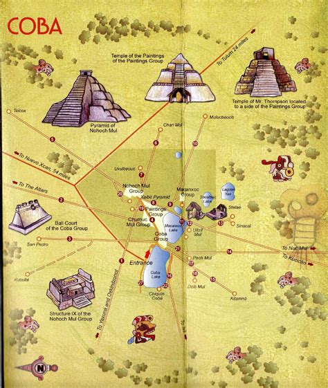 mayan ruins map coba mayan ruins tourist map photo