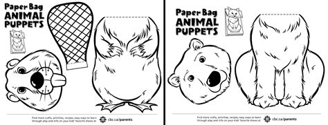 printable animal puppets canadian animal paper bag puppets play cbc parents