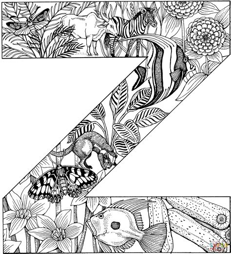 Z Coloring Pages by Letter Z With Animals Coloring Page Free Printable