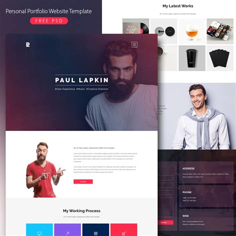 Free Website Portfolio Templates by Personal Portfolio Website Template Free Psd