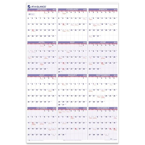 Calendar Compare Dates At A Glance Yearly Wall Calendar 2015 24 X