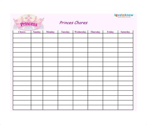 weekly chore chart template 31 free word excel pdf