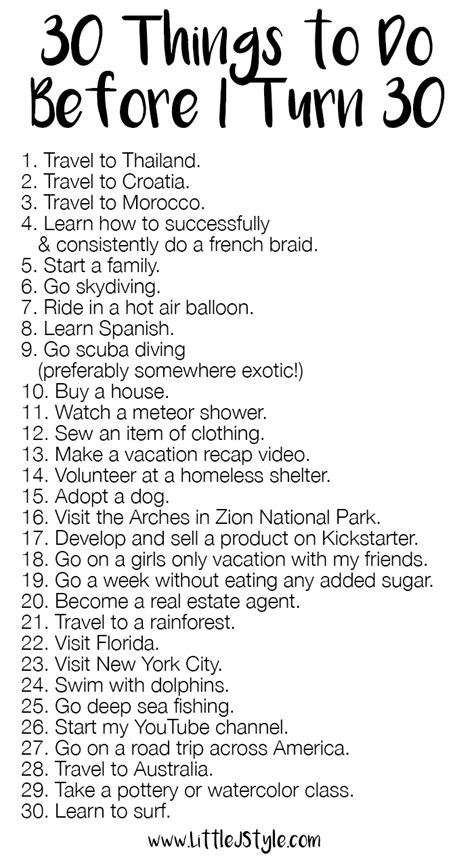 30 things to do before turning 30