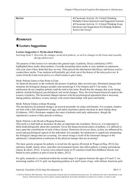 Big Question Essay Ideas by Santrock Ess 3e Im Ch09