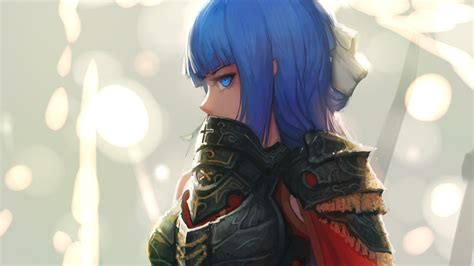 anime with blue anime blue hair armor blue wallpapers hd