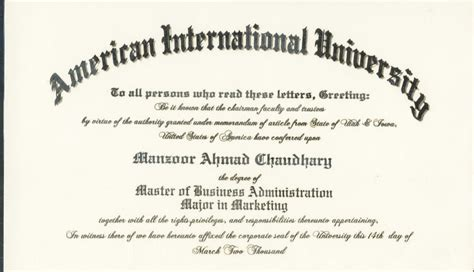 Mba No Degree by Manzoor Ahmad Chaudhry Hse Manager Mba Degree From