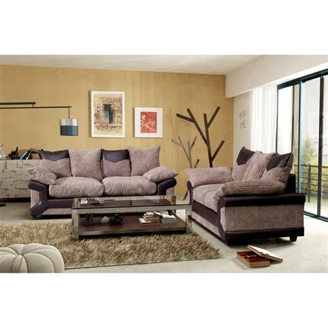 brand new dino brown and beige cord 3 2 sofas