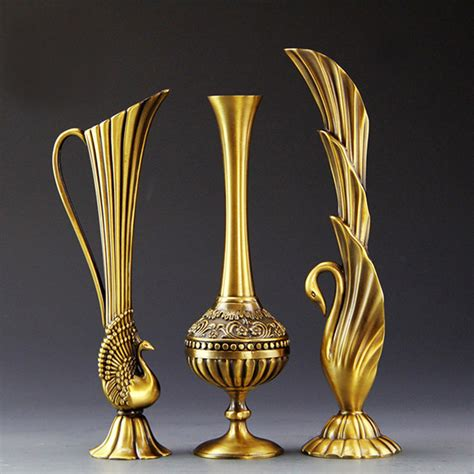 contemporary small decorative vases decor sticks in a vase best tall european retro peacock vase metal alloy gold bronze small