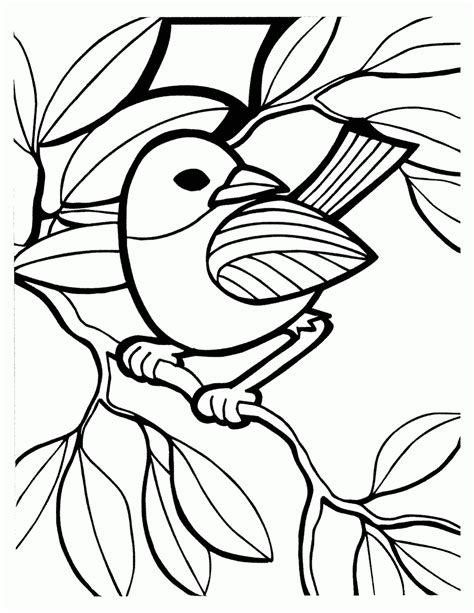 Mewarnai Gambar Burung Bertengger di Ranting - Contoh Anak