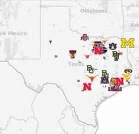 map of universities in texas how local recruiting dictates scheme mapping college football s elite talent sbnation