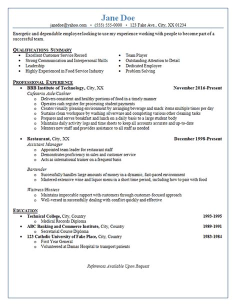 restaurant server resume exle cashier bartender waitress hostess