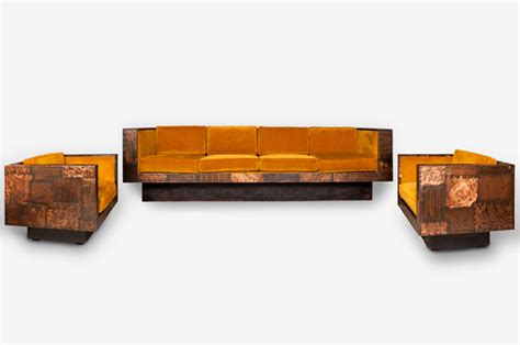 copper couch sofa and two swivel armchairs copper patchwork paul