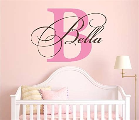 nursery custom name and initial wall decal sticker 28 w by 20 h name wall decal
