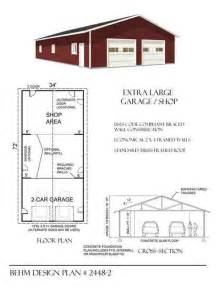 extra large 2 car garage shop plan 2448 2 34 x 72 by