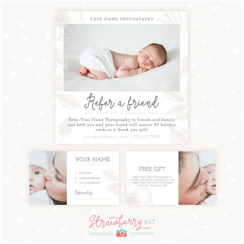 referral card template photography refer a friend photography template bonus business cards