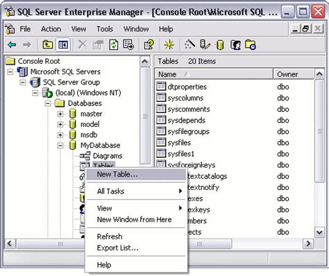 Create New Table Sql by Sql Server Create A Table