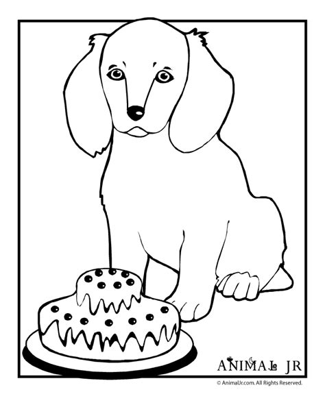 puppy birthday coloring page puppy and birthday cake animal jr