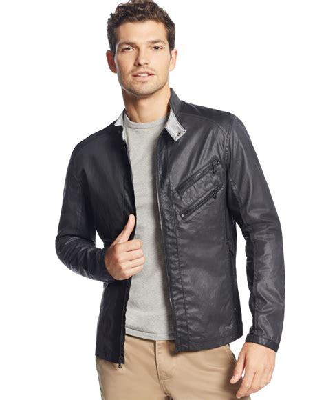 Jacket Calvin calvin klein mixed media lightweight moto jacket in black for lyst