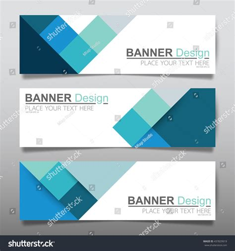 banner layout in word collection blue square horizontal business banner set