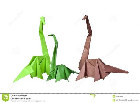 Folded Paper Figures - origami paper figures of dinosaurs royalty free stock