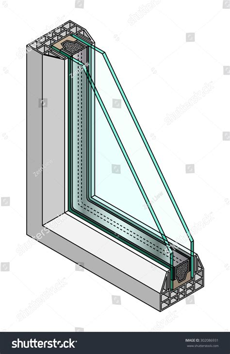 window cross section crosssection diagram double glazed window stock vector